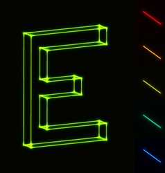 EPS10 glowing wireframe letter E - easy to change vector image