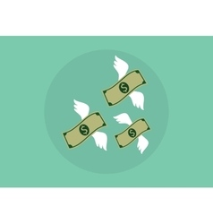 flying money that have wings fly away with green vector image