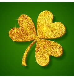 Golden shining glitter glamour clover leaf on dark vector image