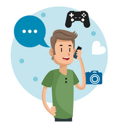 Man social media communication talk camera game vector