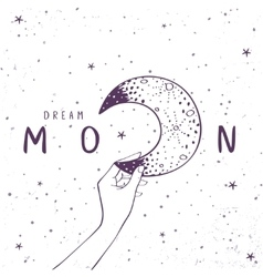 Moon art poster vector