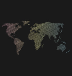 Multicolor chalk scribble sketch map of world on vector
