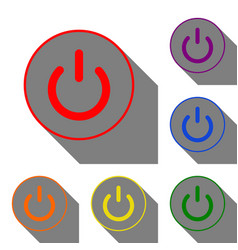 On off switch sign set of red orange yellow vector