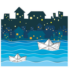 paper boats floating along the river in city vector image vector image
