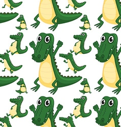 Seamless green aligators smiling vector