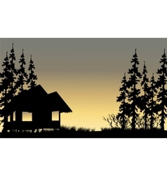 Silhouette of the old village with hut vector