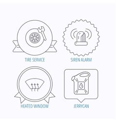 Siren alarm tire service and jerrycan icons vector image