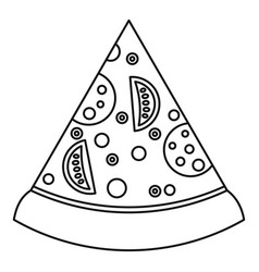 slice of pizza with ingredients icon outline style vector image vector image
