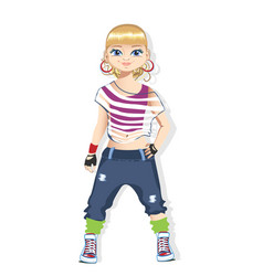Street dancer girl in bright clothes vector