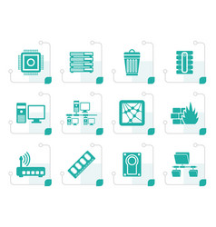 Stylized computer and website icons vector
