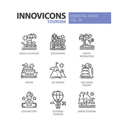 tourism- modern color single line icon set vector image vector image