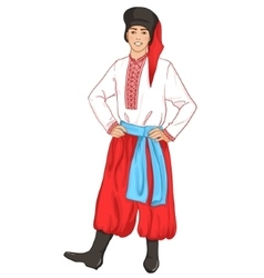 Young man in ukrainian traditional clothes vector image vector image