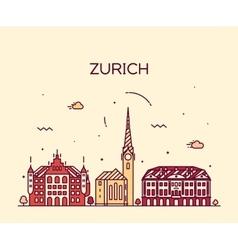 Zurich skyline silhouette linear vector