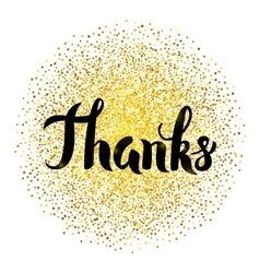 Thanks Lettering over Gold vector image