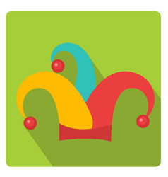 colored jester hat icon flat style with long vector image