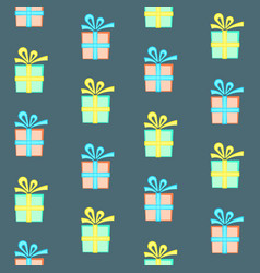 Colorful present box with bow seamless pattern vector