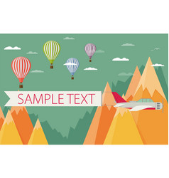 Background of hot air balloons plain with banner vector