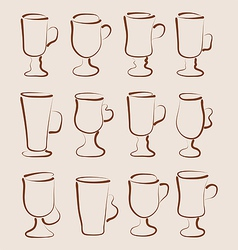 Sketch set coffee and latte cups design elements vector