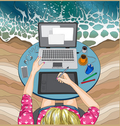 Woman working at the laptop at beach remote work vector