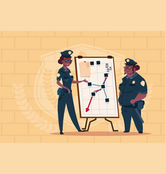 Two african american police women planning action vector