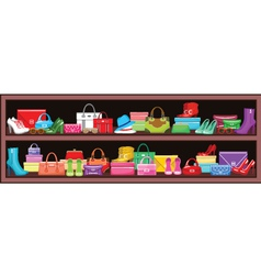 Image of a shelf with bags and shoes vector image