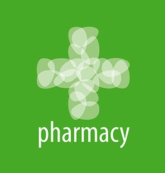 Abstract logo cross from the petals of pharmacy vector