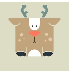 Flat square icon of a cute deer vector