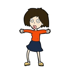 Comic cartoon surprised woman vector
