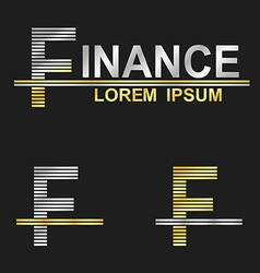 Metallic business font design - letter f vector
