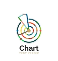 Thin line chart logo design graph icon modern vector
