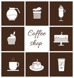 Monochrome set of coffee items vector