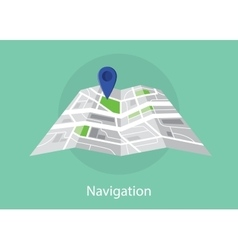 Navigation map with maps and pin icon green vector