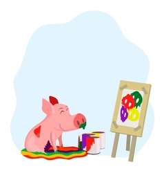 paints a picture of a pig vector image