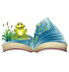 A book with a story of the frog in the pond vector image
