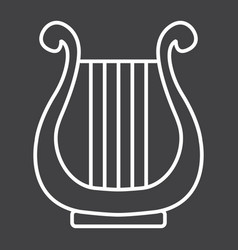 ancient greek lyre line icon music vector image