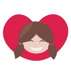 brunette lovely girl with red heart vector image vector image