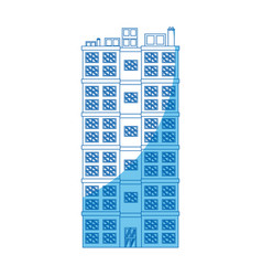 Building residential apartment structure blue line vector