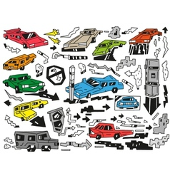 cars doodles vector image vector image