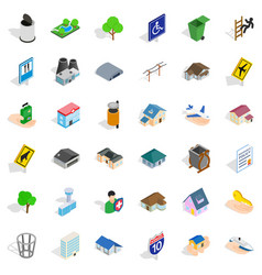 City hall icons set isometric style vector