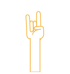 color line hand up with rock gesture symbol vector image