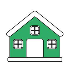 color silhouette image cartoon green facade vector image