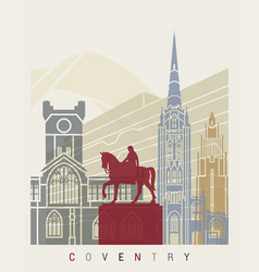 coventry skyline poster vector image vector image