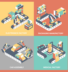 factory automation concept flat isometric vector image