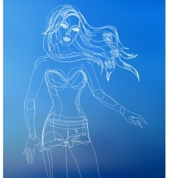 Fashion beautiful woman drawn vector image vector image