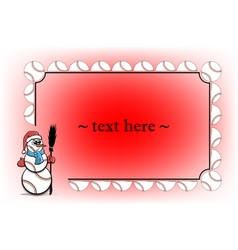 Frame with baseball and snowman vector image