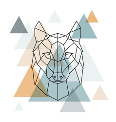 geometric wolf low poly line art vector image