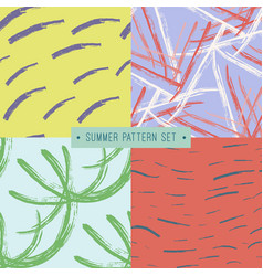 handdrawn seamless summer pattern collection vector image vector image