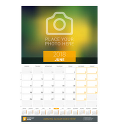 june 2018 wall monthly calendar for 2018 year vector image vector image