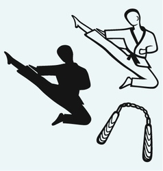 Karate male young fighter and nunchaku weapon vector image