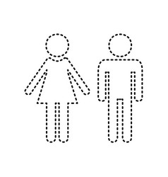 Male and female sign black dashed icon on vector